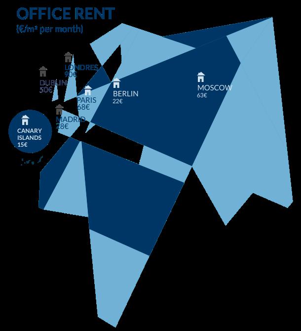 Mapa europeo con precio metro cuadrado de varios pau00edses