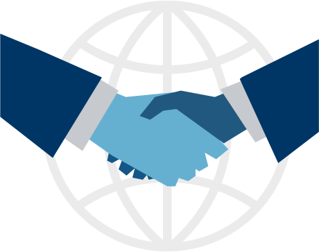 Graphic two people shaking hands with world background