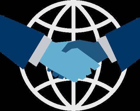 Gráfico dos personas dándose la mano con fondo de mundo