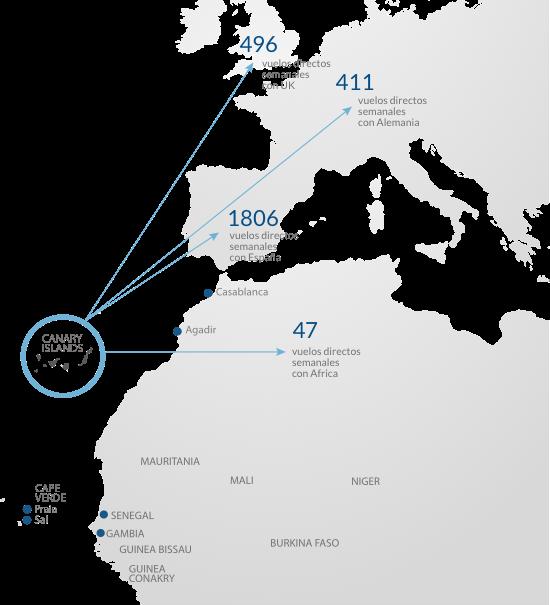 Mapa con las rutas Aéreas