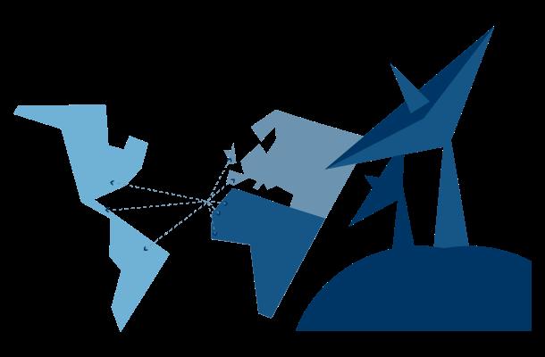 Gráfico mostrando comunicación entre continentes