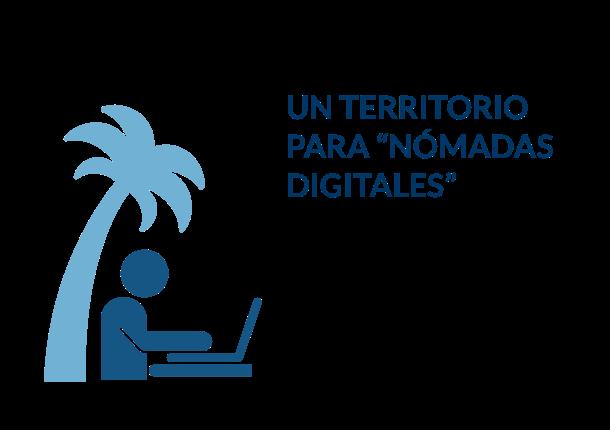 Illustración de un nómada digital trabajando con el portátil