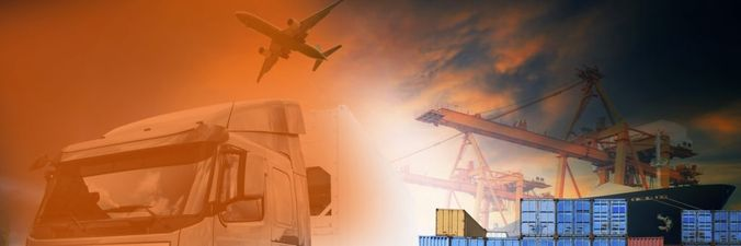 Image of an airplane, truck and port